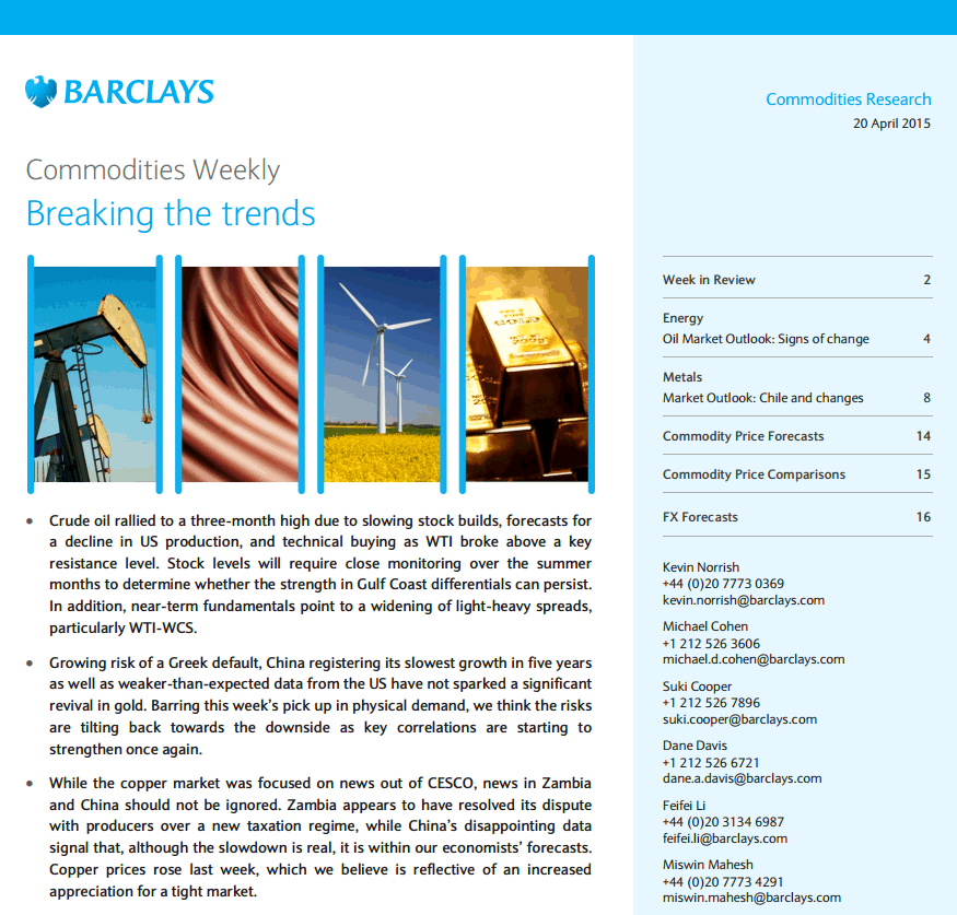 Barclays Research Reports