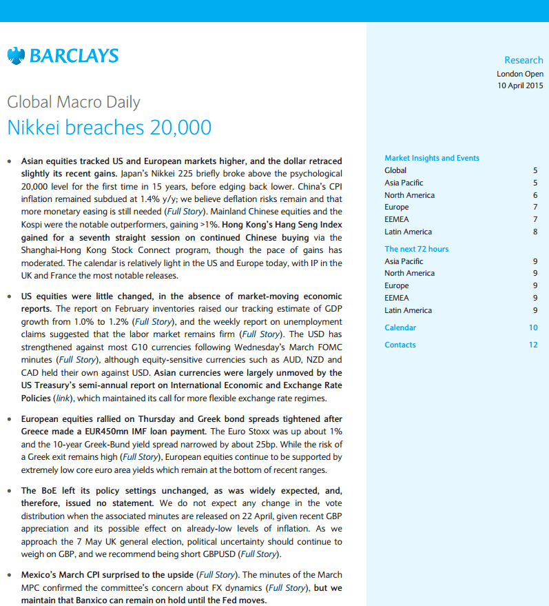 Barclays Global Macro Daily London Open 10 April 2015
