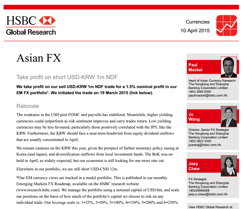 HSBC Asian FX 10 April 2015