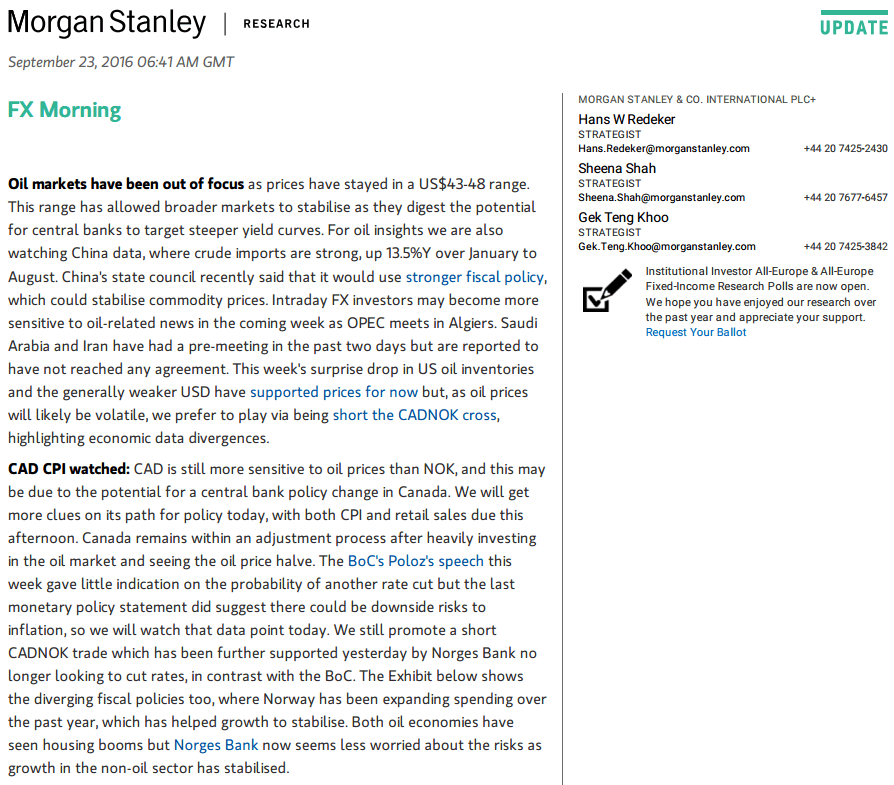 Forex Commentary Morgan Stanley